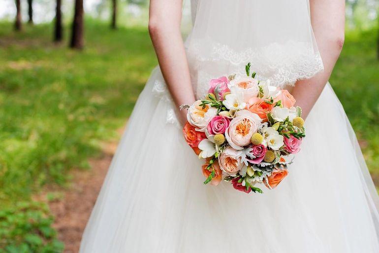 Разноцветный букет невесты