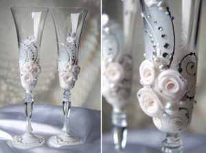 Украшение бокалов полимерной глиной