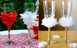 Лепестки роз на бокалах