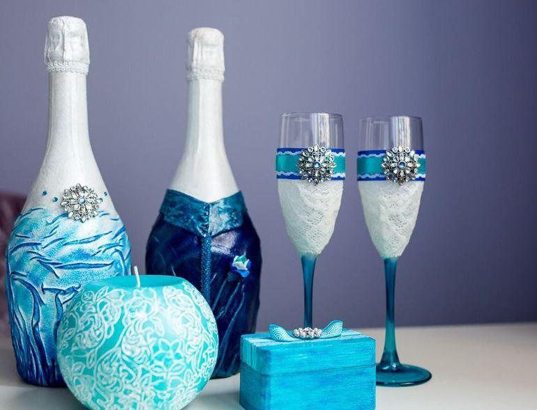Оригинальное оформление бутылок на свадьбу